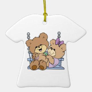 cute teddy bear couple romance on bench swing Double-Sided T-Shirt ceramic christmas ornament