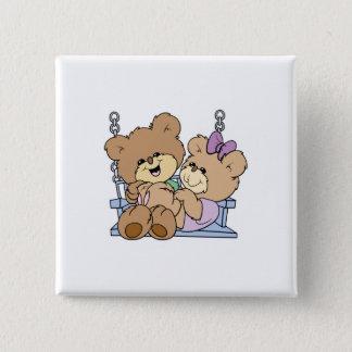 cute teddy bear couple romance on bench swing pinback button