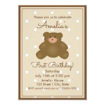 Cute Teddy Bear Cub Baby First Birthday Invitation