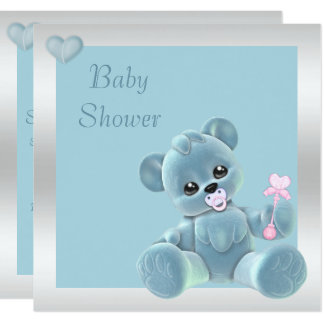 Cute Teddy Bear Double Sided Baby Shower Card