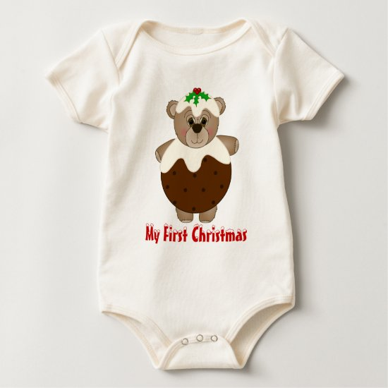 Cute Teddy Bear Dressed as a Christmas Pudding Baby Bodysuit