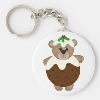 Cute Teddy Bear Dressed as a Christmas Pudding Keychain