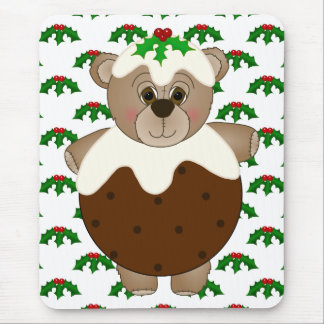 Cute Teddy Bear Dressed as a Christmas Pudding Mouse Pad