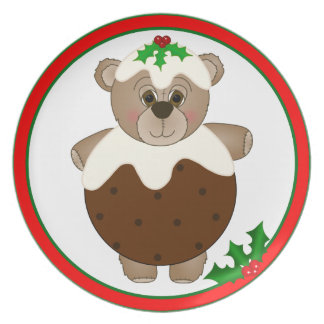Cute Teddy Bear Dressed as a Christmas Pudding Party Plate