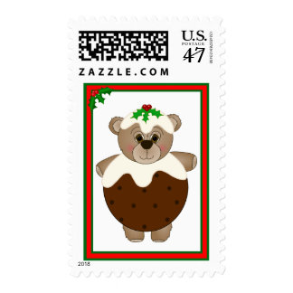 Cute Teddy Bear Dressed as a Christmas Pudding Postage Stamp