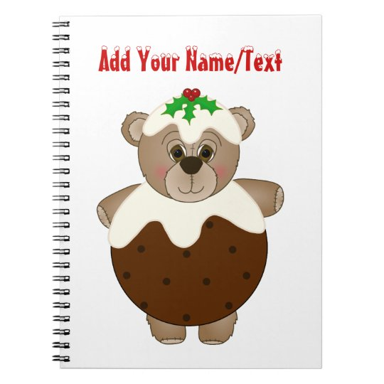 Cute Teddy Bear Dressed as a Christmas Pudding Spiral Notebook