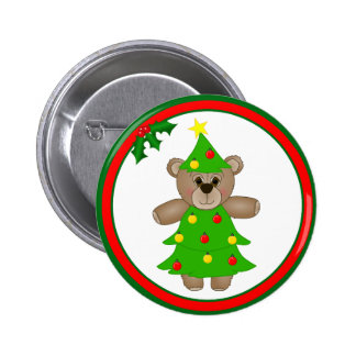 Cute Teddy Bear Dressed as a Christmas Tree 2 Inch Round Button