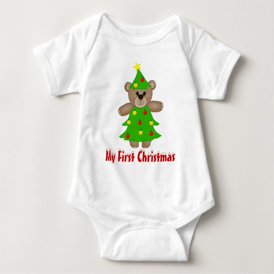 Cute Teddy Bear Dressed as a Christmas Tree Baby Bodysuit