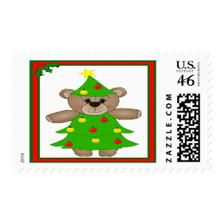 Cute Teddy Bear Dressed as a Christmas Tree Postage