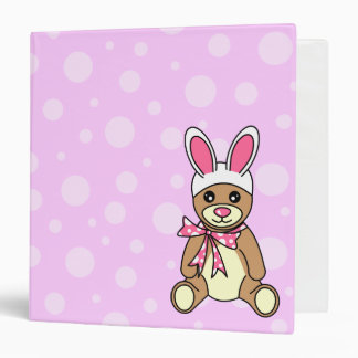 "Cute Teddy Bear Easter Bunny Ears Pink 1.5"" 3 Ring Binder"
