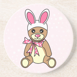 Cute Teddy Bear Easter Bunny Ears Pink Drink Coaster