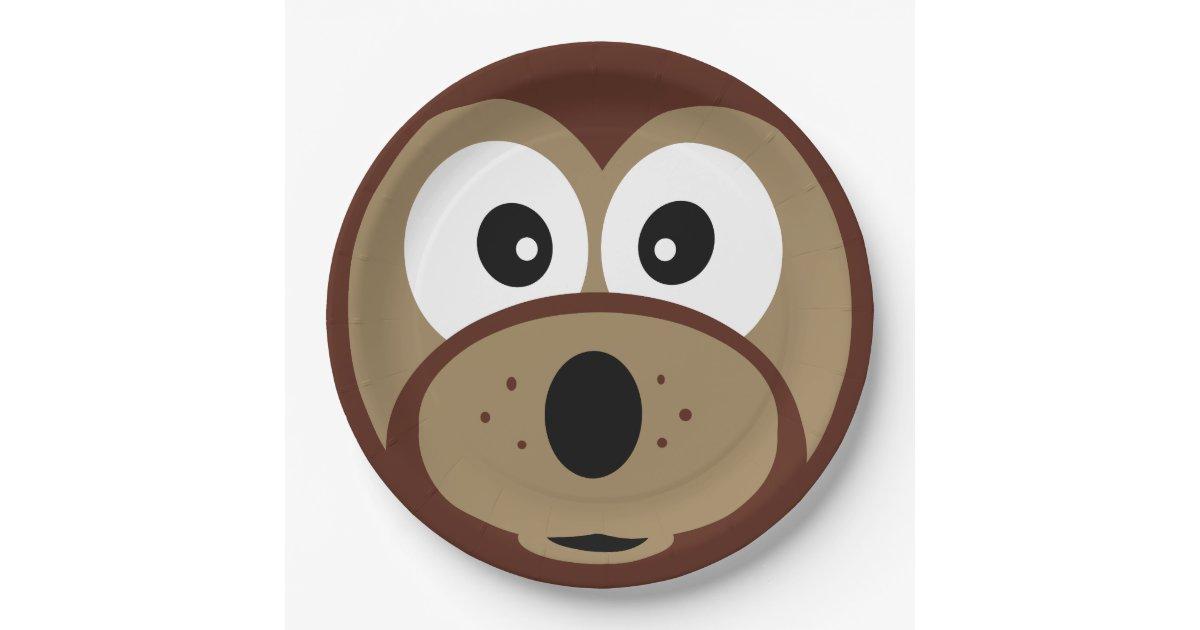 Cute Teddy Bear Face Paper Plates Zazzle Com