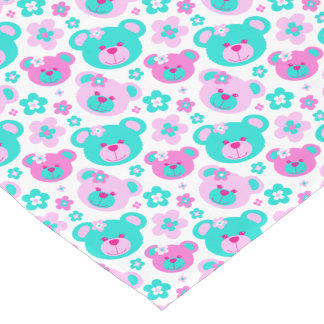 Cute teddy bear faces pink aqua white table runner