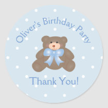 Cute Teddy Bear First Birthday Party Thank You Classic Round Sticker