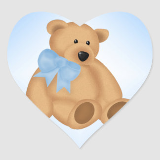 Cute Teddy Bear, For Baby Boy Heart Sticker