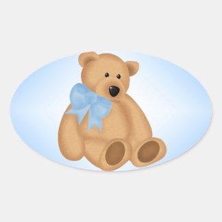 Cute Teddy Bear, For Baby Boy Oval Sticker