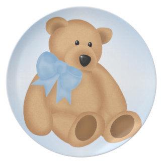 Cute Teddy Bear For Baby Boy Party Plates