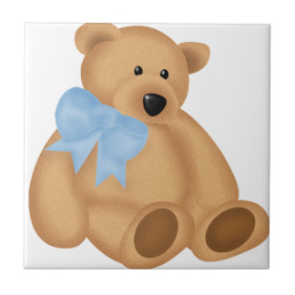 Cute Teddy Bear, For Baby Boy Small Square Tile