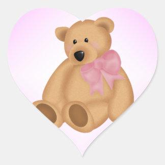 Cute Teddy Bear, For Baby Girl Heart Sticker
