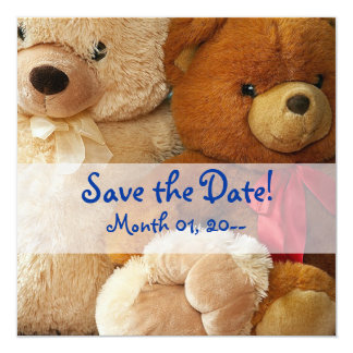 "Cute Teddy Bear Friends Announcements 5.25"" Square Invitation Card"