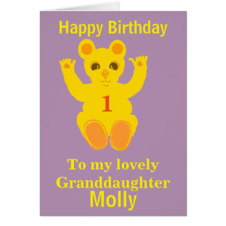 Cute Teddy Bear, Granddaughter add age, name front Greeting Card