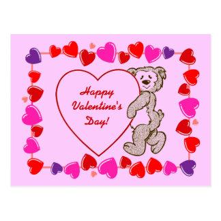 Cute Teddy Bear Heart Border Kids Valentine's  Day Postcard