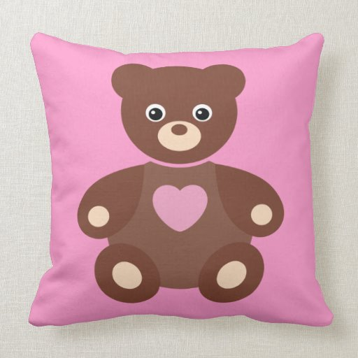 Cute Bear With Heart Pillow : Cute Teddy Bear & Heart Pink Throw Pillow Zazzle