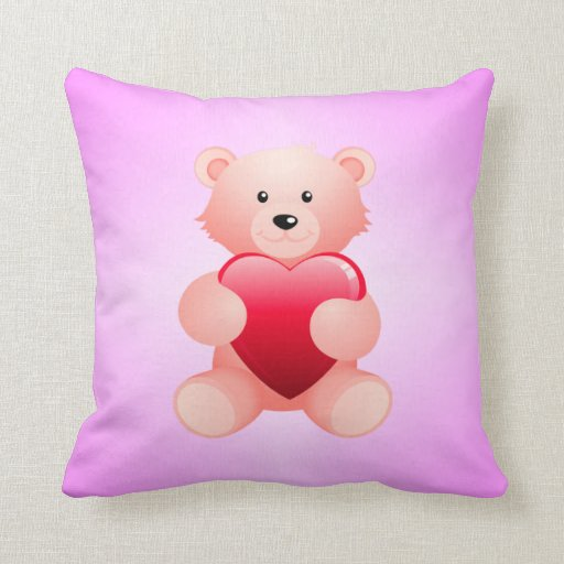 Cute Bear With Heart Pillow : Cute Teddy Bear Holding a Heart Throw Pillow Zazzle