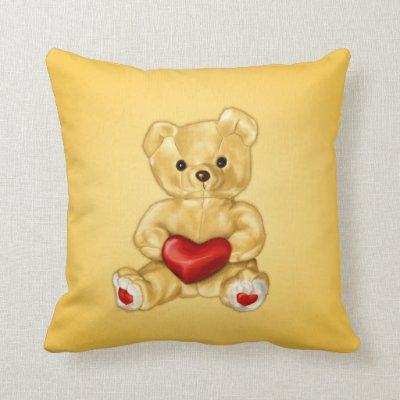 Cute Teddy Bear Hypnotist Holding a Heart Yellow Throw Pillows