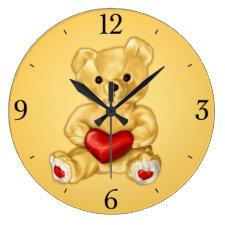 Cute Teddy Bear Hypnotist Yellow Children's Wallclock