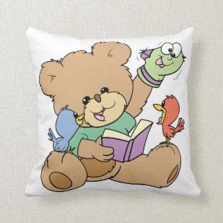 cute teddy bear imagination reading book with dog throw pillow