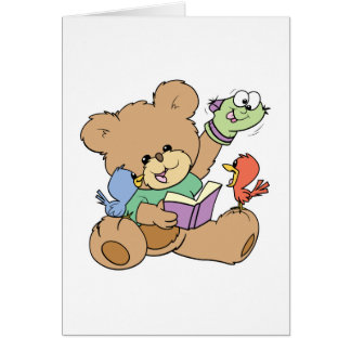 cute teddy bear imagination reading book with pupp card