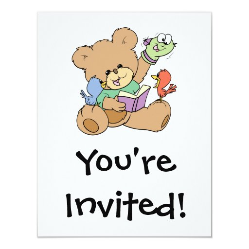 cute teddy bear imagination reading book with pupp 4.25x5.5 paper invitation card