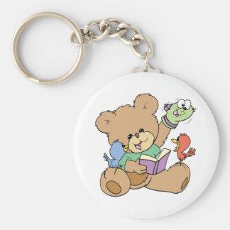 cute teddy bear imagination reading book with pupp keychain