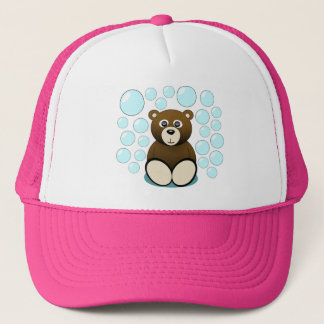 cute teddy bear in bubbles trucker hat