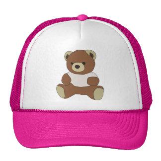 Cute Teddy Bear in Pink T-Shirt Trucker Hat