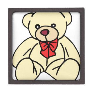 Cute teddy bear in soft tan keepsake box