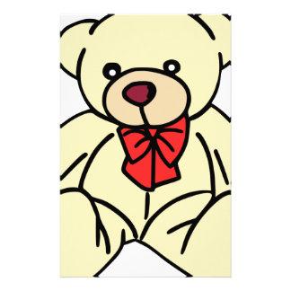 Cute teddy bear in soft tan stationery