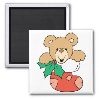 Cute Teddy Bear in Stocking 2 Inch Square Magnet