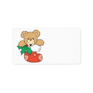 Cute Teddy Bear in Stocking Label