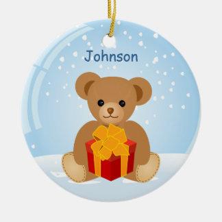 Cute Teddy Bear inside Christmas Snowball Ceramic Ornament