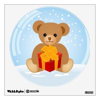 Cute Teddy Bear inside Christmas Snowball Room Graphics