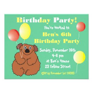 Cute Teddy Bear Kids Birthday Party Invitation