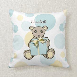 Cute Teddy Bear Kids Cartoon Personalized Name Throw Pillow