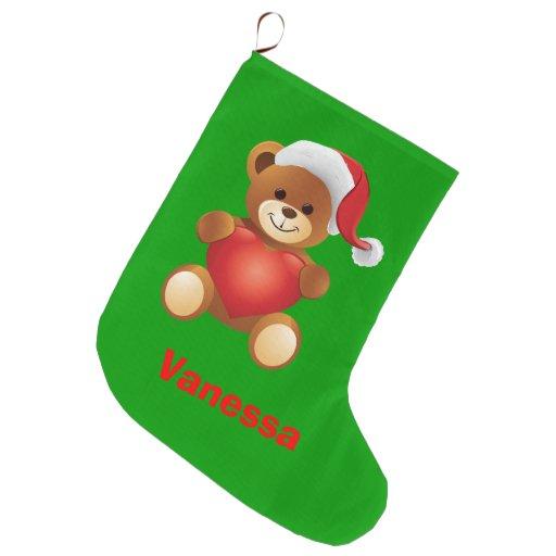 Cute Teddy Bear Kids Christmas Stocking Large Christmas Stocking
