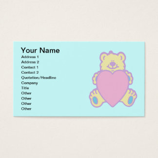 Cute Teddy Bear Love Heart Business Card