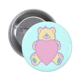 Cute Teddy Bear Love Heart Button