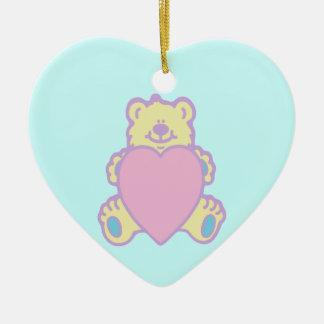 Cute Teddy Bear Love Heart Double-Sided Heart Ceramic Christmas Ornament