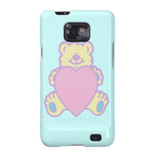 Cute Teddy Bear Love Heart Samsung Galaxy S2 Cases