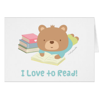 Cute Teddy Bear Loves To Read For Kids Card